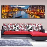 Large Canvas Paintings Wall Art Landscape Painting Water Town Prints