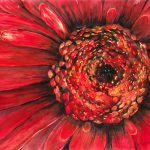 Large Red Flower Close Watercolor