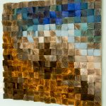 Large Wood Wall Art Mosaic Geometric Painting Fighting