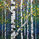 Light Lingers Colourful Aspen Trees Birch Tree Forest Nature Art