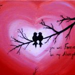 Love Birds Acrylic Painting Canvas Art Heart Sign