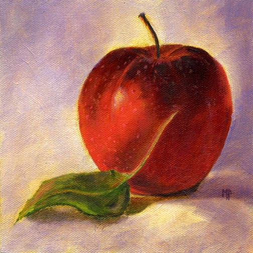 Marina Petro Adventures Daily Painting Apple Leaf Still Life Fruit