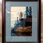 Matted Watercolor Painting Cherry Wood Frame Blue Pine Trees