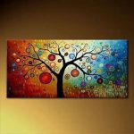 Modern Abstract Huge Canvas Wall Oil Painting Tree Inch Framed