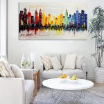 Modern City Canvas Abstract Painting Print Living Room Art Wall Decor