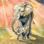Mom Baby Elephant Painting Melly