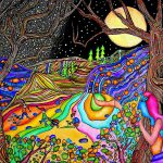 Moon Psychedelic Hill Painting Dora
