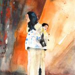 Moroccan Woman Carrying Baby Painting Miki