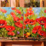 Nancy Medina Art Surrounded Red Poppy Painting Texas Flower
