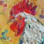Nancy Standlee Fine Art Rooster Painted Paper Mixed Media