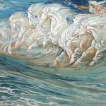Neptune Horses Illustration Greek Mythological Legend Oil Painting
