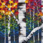 New Colourful Aspen Birch Tree Forest Painting Canadian Abstract Landscape