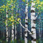New Painting Colourful Spring Forest Birch Aspen Tree Contemporary