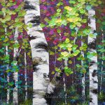 New Painting Last Days Summer Colourful Autumn Aspen Birch
