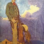 Norman Rockwell Gary Cooper Cowboy Original Painting Hall Fame