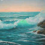 Ocean Painting Wave Sunset Inch