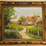 Oil Painting Detailed Wood Frame Country Home