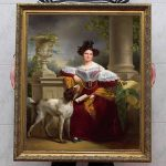 Old Master Art Antique Oil Painting Noblewoman Girl Dog Canvas