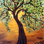 Olive Tree Sunset Original Oil Painting