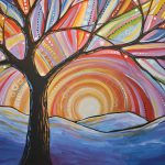 Original Abstract Tree Landscape Painting Mountain Majesty Amy
