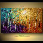 Original Abstract Tree Painting Thick Texture Birch