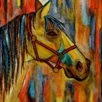 Original Acrylic Painting Horse Quietly