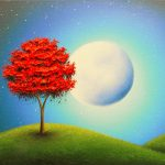 Original Oil Painting Moon Wall Decor Red Tree