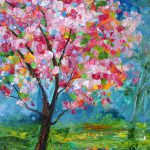 Original Oil Painting Spring Tree Life Landscape