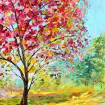 Original Oil Painting Summer Blossoms Tree Canvas