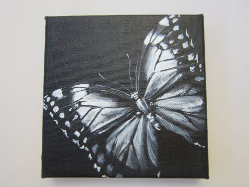 Original Square Canvas Acrylic Painting Black