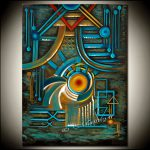 Original Turquoise Large Abstract Painting Modern Art Geometrical Canvas