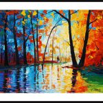 Oriiginal Oil Painting Palette Knife Trees Wall