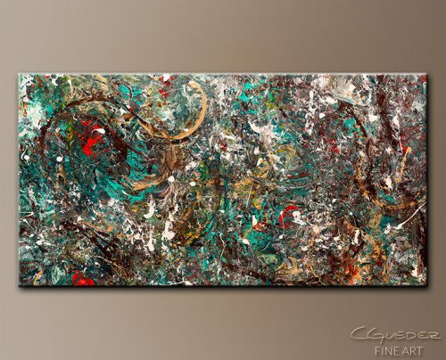 Oversized Abstract Art Painting Gold Ring Huge Large Modern Paintings