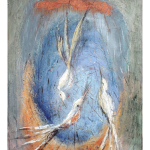 Paco Ferro Three Birds Serenading Moon Oil Painting