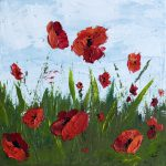 Paint Poppy Flowers Acrylic Palette Knife Simple Step