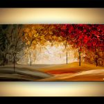 Painting Modern Abstract Landscape Blooming Trees