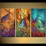 Painting Sale Abstract Ballet Dancers Vertical Triptych