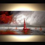 Painting Sale Red Sail Boat Seascape Modern Palette
