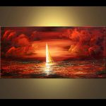 Painting Sale Sailing Boat Red Clouds