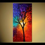 Painting Sale Vertical Colorful Landscape Tree Large