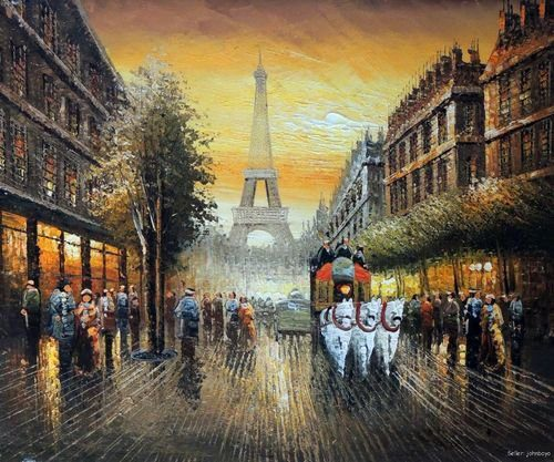 Paris Eiffel Tower Horse Carriage Sunset Oil Canvas Painting