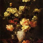 Peonies Apple Blossoms Chinese Vase Antoine Vollon Oil Painting