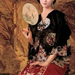 Perfect Oil Painting Beautiful Chinese Young Lady Fan Canvas