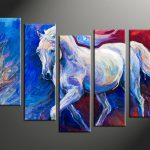 Piece Blue Canvas Horse Wildlife