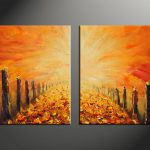Piece Orange Modern Oil Paintings Huge Canvas