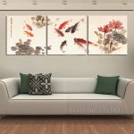 Piece Wall Art Traditional Chinese Calligraphy Painting Koi Fish Lotus Canvas