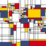 Piet Mondrian Style World Map Wall Mural