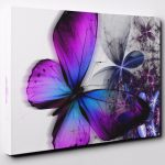 Purple Blue Abstract Floral Butterfly Canvas Wall Art Print Ready Hang