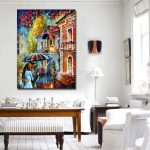 Rainy Kiss Modern Living Room Wall Painting Printed Canvas Frameless Color