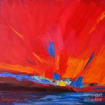 Red Sunset Modern Abstract Art Painting Patricia